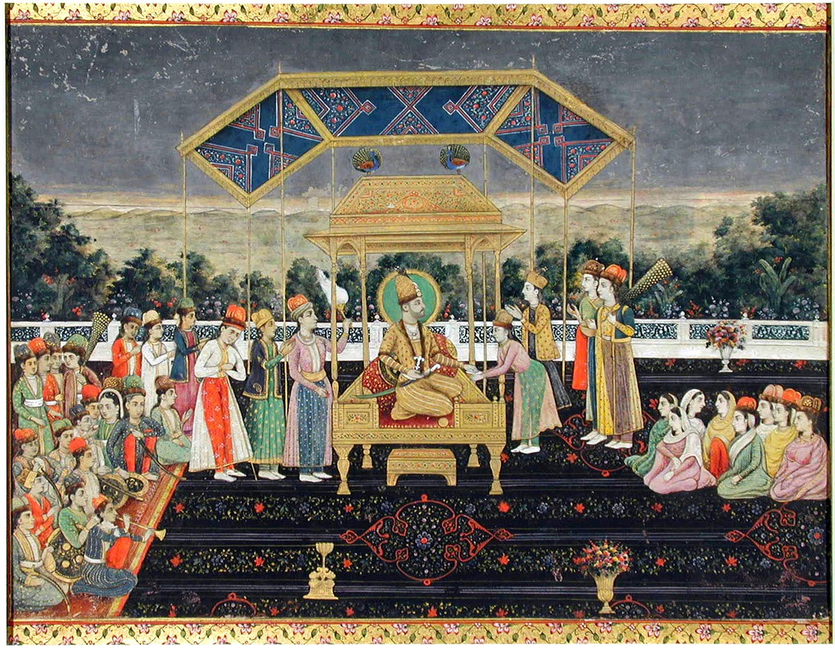 Nadir Shah on the Peacock Throne after his defeat of Muhammad Shah. ca. 1850 San Diego MOA