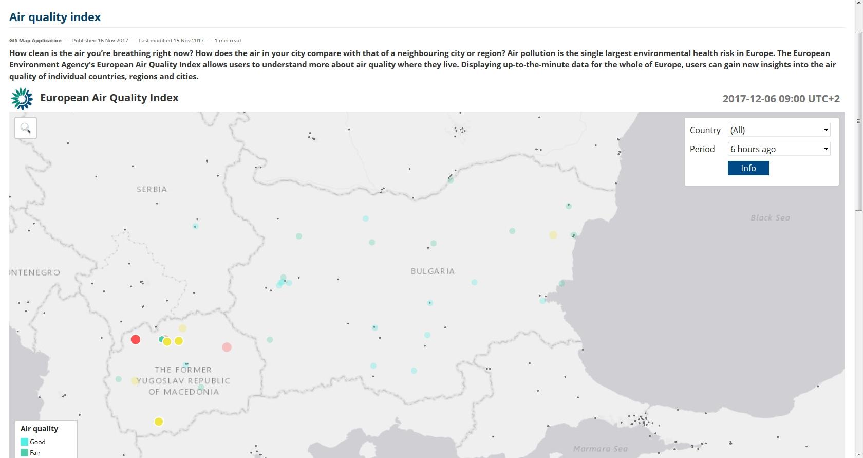 """България вече е с актуализирани данни в картата """"Индекс на качеството на въздуха"""""""