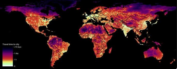 Карта на времето за пътуване до градовете по света