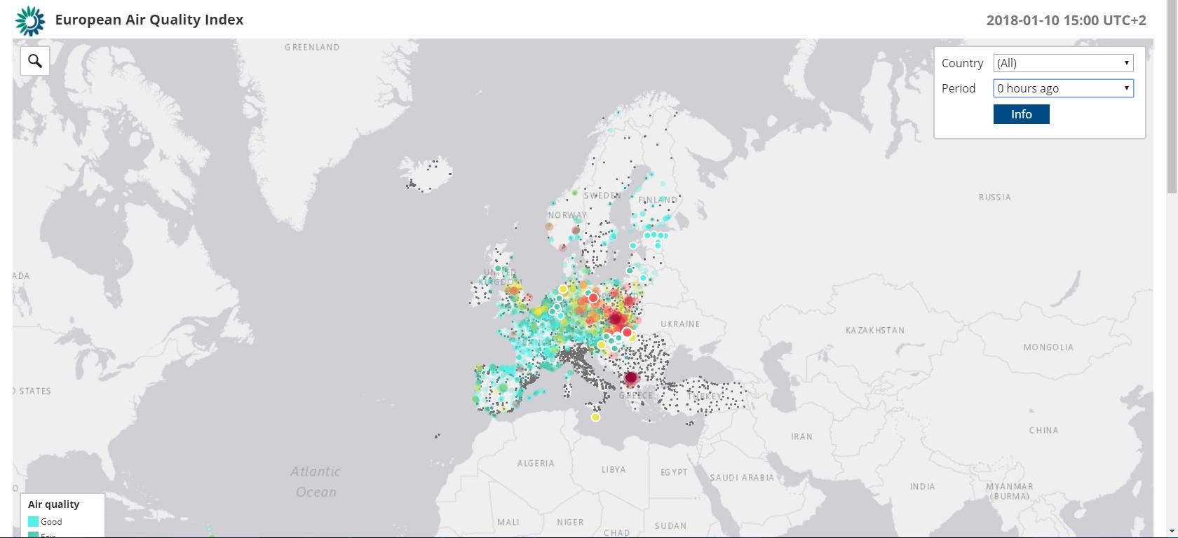 """Данните за България изчезнаха от европейската карта """"Индекс на качеството на въздуха"""""""
