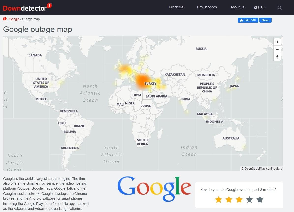 Гугъл се срина в България, Турция и Гърция