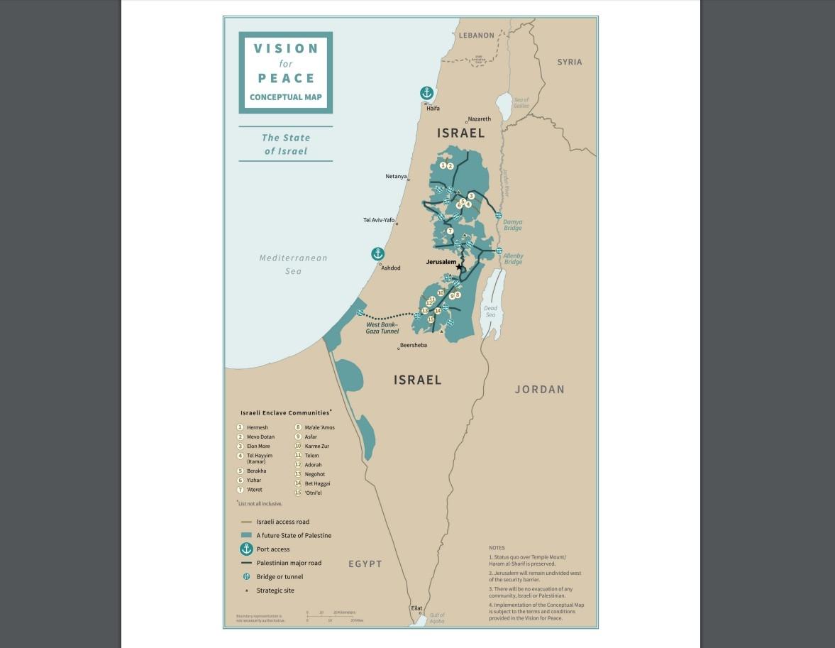 Израел рисува нова карта по идеята на Тръмп, палестинците против