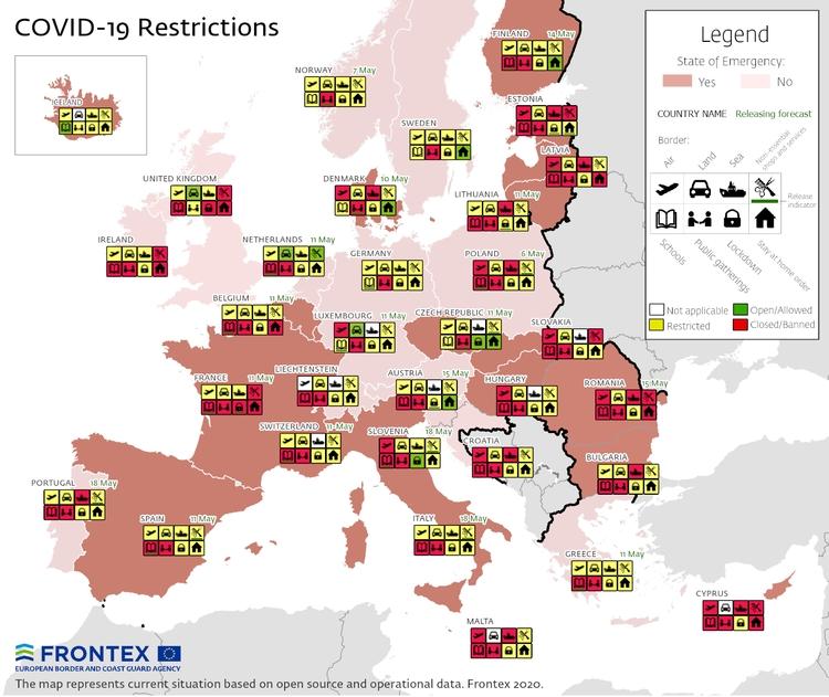 Карта показва коя държава какви ограничения налага